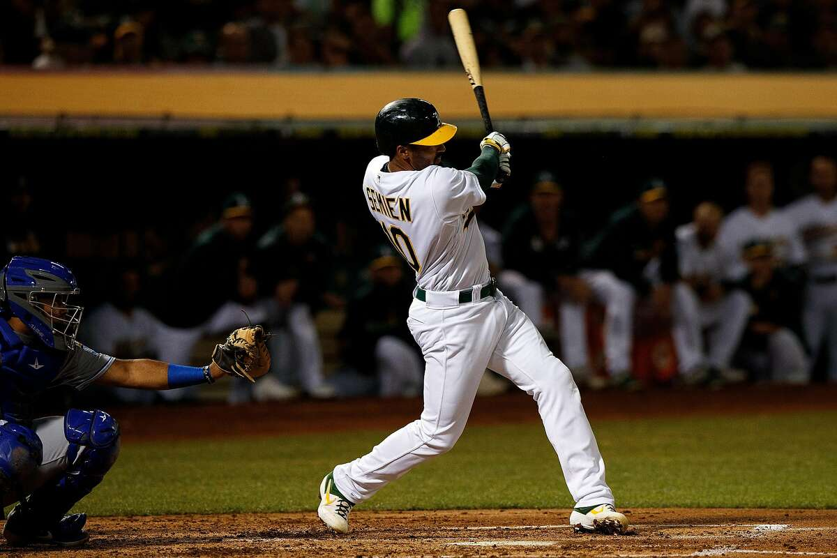 OAKLAND, CA - SEPTEMBER 16: Marcus Semien #10 of the Oakland Athletics hits a two run home run against the Kansas City Royals during the second inning at the RingCentral Coliseum on September 16, 2019 in Oakland, California. (Photo by Jason O. Watson/Getty Images)