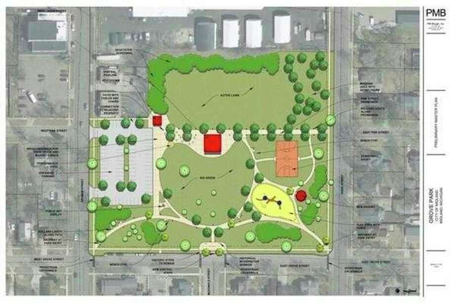 A conceptual drawing from PM Blough, Inc. shows the master plan for Grove Park in Midland. (Photo provided)