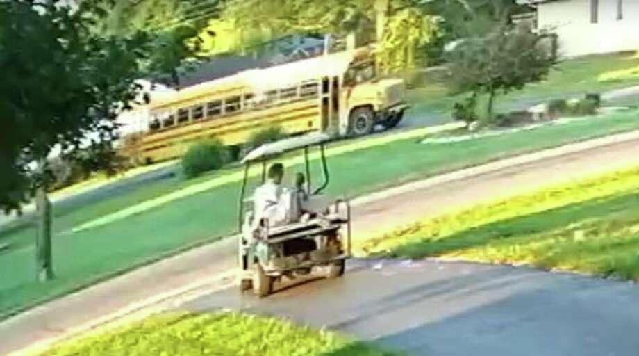 Police say this school bus in East Alton was reported as behaving strangely, with no visible school district markings. An investigation finds that time stamps place the bus in its correct route, and image pixelation blurred out the appropriate markings. Photo: East Alton Police Department