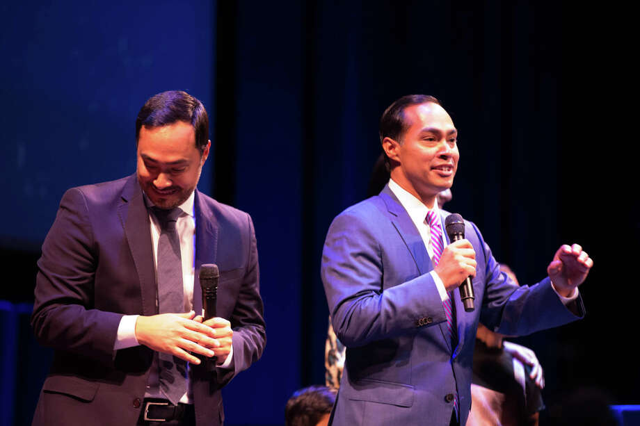 Julián and Joaquin  Castro celebrated their 45th birthday at the Tobin Center Monday night. Photo: B. Kay Richter