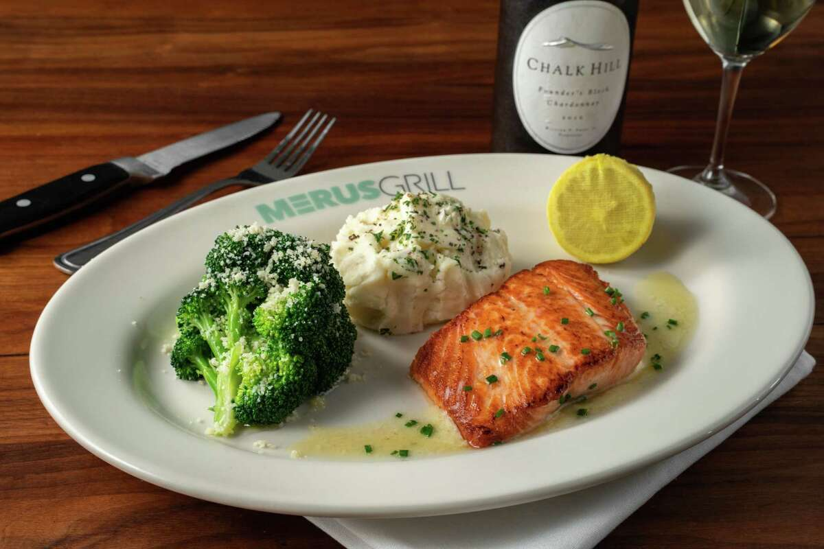 Pan-roasted Norwegian salmon finsiehd with white wine butter sauce and served with pommes puree and lemon-reggiano broccoli at Merus Grill, a new restaurant from J. Alexander's Holdings opening in November in Uptown Park.