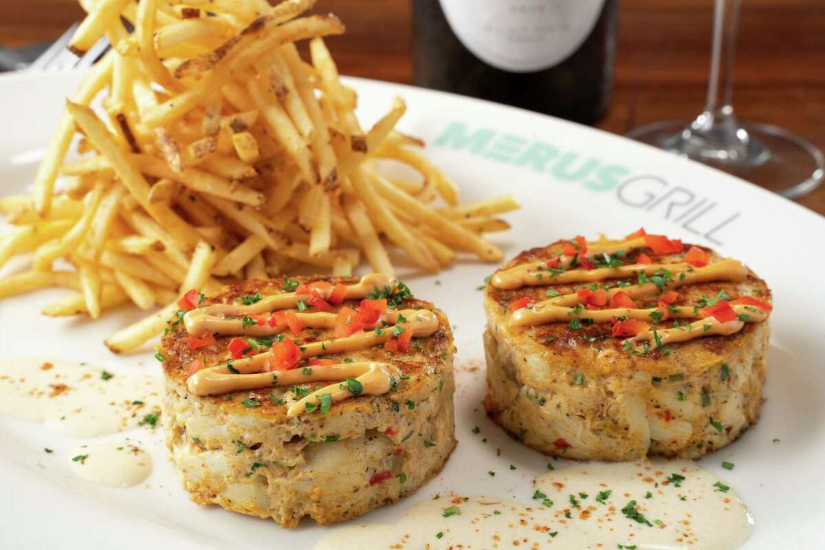 Crab cakes with chili mayonnaise and Dijon mustard sauce at Merus Grill, a new restaurant from J. Alexander's Holdings opening in November in Uptown Park.