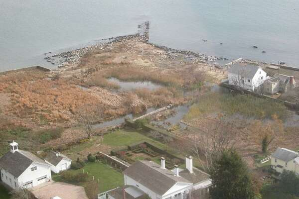 The Dodge Paddock/Beal preserve after Superstorm Sandy ripped through the coastline.