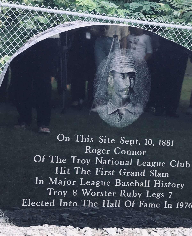 The Roger Connor black granite memorial marking Major League Baseball's first grand slam in history on Sept. 10, 1881 in Rensselaer (Paul Grondahl / Times Union)