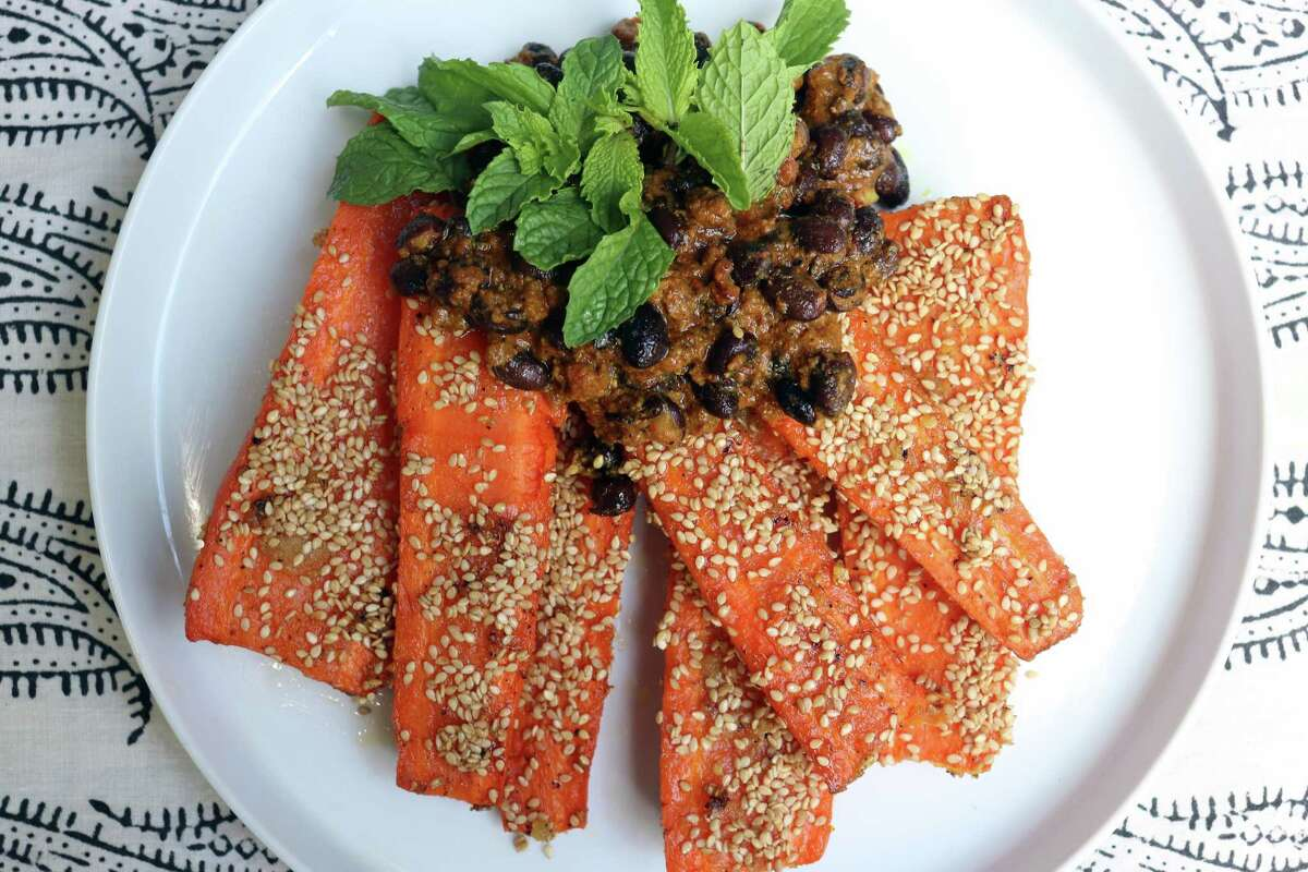 Roasted Carrots with Black Bean Lamb Masala from chef Anita Jaisinghani