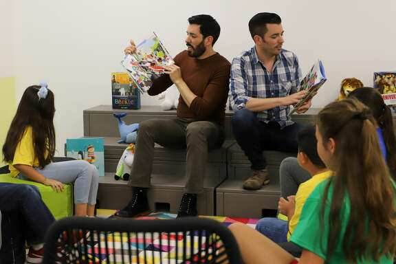 """HGTV's """"Property Brothers,"""" Drew and Jonathan Scott, picked Burnett Elementary in Pasadena ISD out of schools across the country for a library makeover."""
