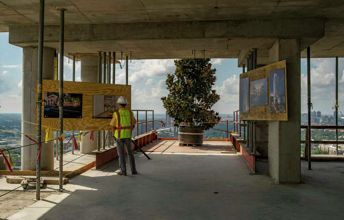 Renderings are on display during a visit to the 33rd floor of the La Colombe d'Or Hotel & Residences to mark the topping out of the building in Houston's Montrose neighborhood, Tuesday, Sept. 10, 2019. The Developer Hines is building the 265-unit, high-rise luxury multifamily project next to the historic La Colombe d'Or Hotel.