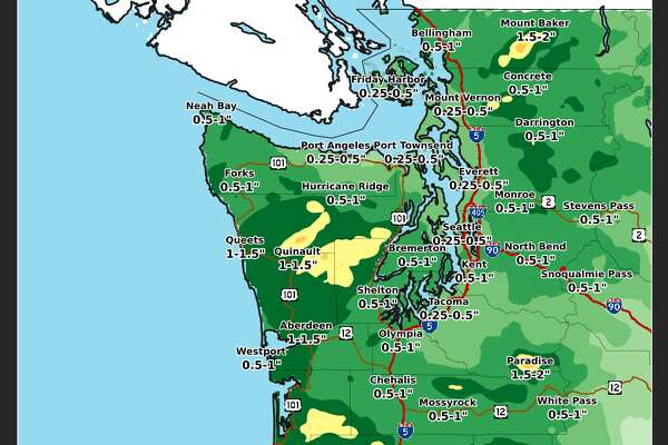 The NWS projects up to an inch of rain possible across much of the state between 6 a.m. Tuesday and 6 a.m Wednesday.