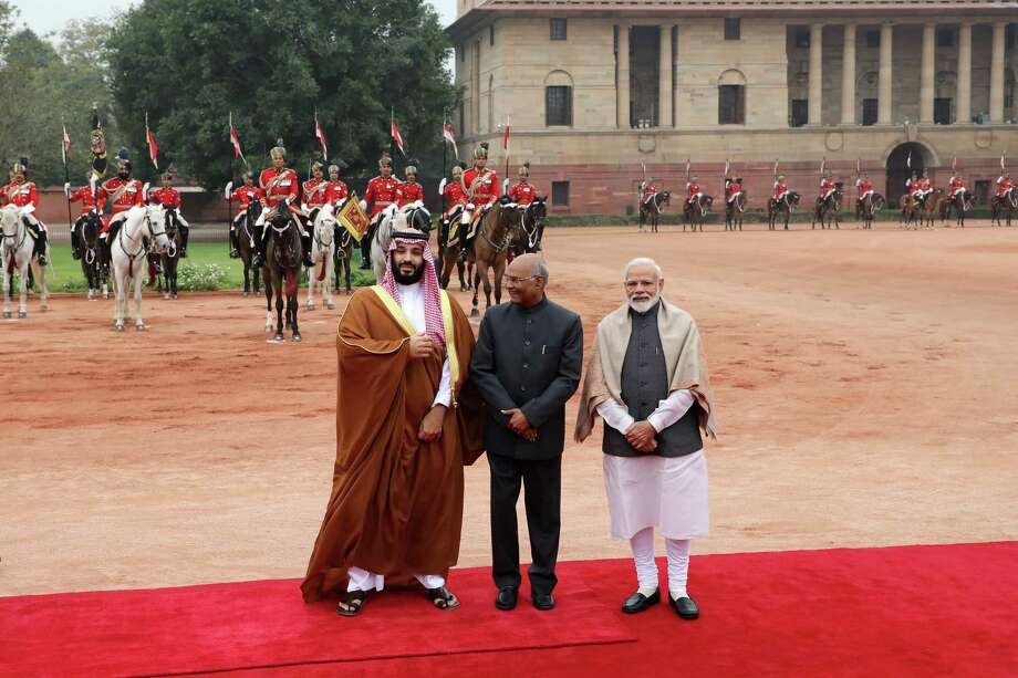 From left: Mohammed Bin Salman, Saudi Arabia's crown prince, Ram Nath Kovind, India's president, and Narendra Modi, India's prime minister, during a ceremonial reception at the presidential palace in New Delhi, India, on Feb. 20, 2019. Photo: Bloomberg Photo By T. Narayan. / © 2019 Bloomberg Finance LP