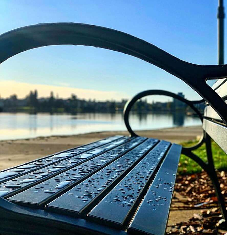 Raindrops from Monday's rainfall coat a public bench near Lake Merritt in Oakland. Photo: Instagram / Our_oakland