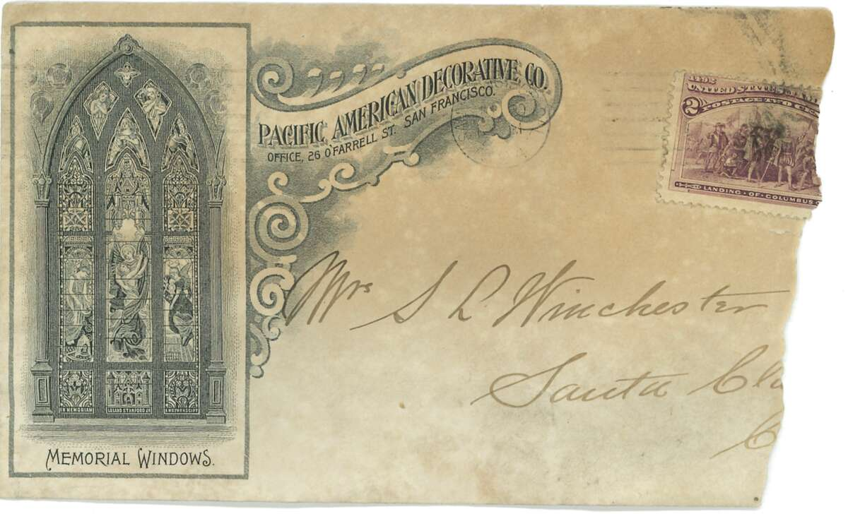 An envelope from the Pacific American Decorative Company, a glassworks company founded by John Mallon, was found in the walls of the Winchester Mystery House.