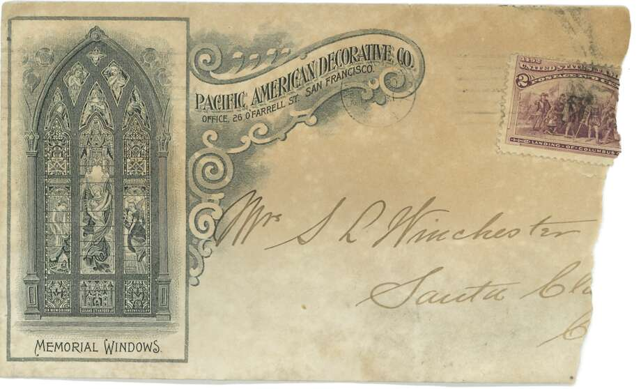 An envelope from the Pacific American Decorative Company, a glassworks company founded by John Mallon, was found in the walls of the Winchester Mystery House. Photo: Winchester Mystery House