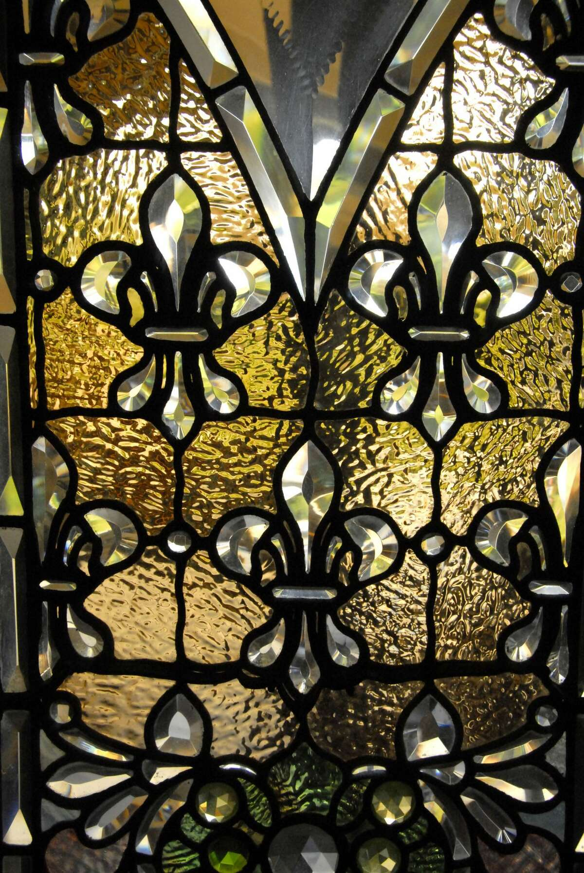 A stained glass piece at the Winchester Mystery House likely created by John Mallon's San Francisco studio.