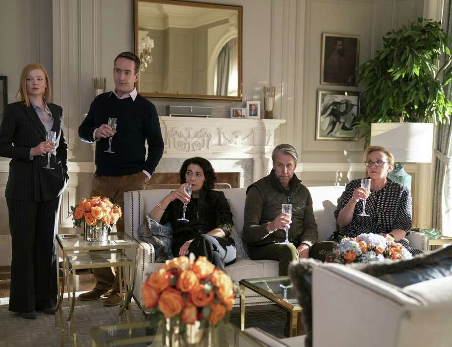"(L-r) Sarah Snook, Matthew Macfadyen, Hiam Abbass, Alan Ruck and J. Smith-Cameron in a scene from the second season of ""Succession."" Photo: Peter Kramer/HBO / HBO"
