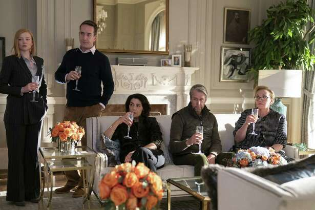 "(L-r) Sarah Snook, Matthew Macfadyen, Hiam Abbass, Alan Ruck and J. Smith-Cameron in a scene from the second season of ""Succession."""