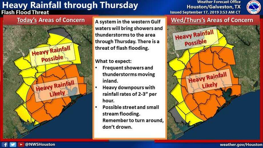 The National Weather Service is advising Houston-area residents to be prepared with the potential for flooding over the next three days. Photo: National Weather Service