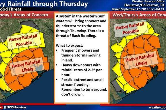 The National Weather Service is advising Houston-area residents to be prepared with the potential for flooding over the next three days.