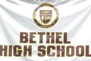 File photo of Bethel High School banner at the Class of 2019 Commencement Ceremony, Thursday June 13, 2019, at the O'Neill Center, Western Connecticut State University, Danbury, Conn.