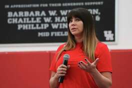 """Brenda Tracy speaks about her story as a rape survivor and her """"Set The Expectation"""" campaign at the 2018 Houston Football Coaches Clinic on Friday, March 23, 2018, in Houston. Tracy was gang-raped by four Oregon State University football players 20 years ago."""