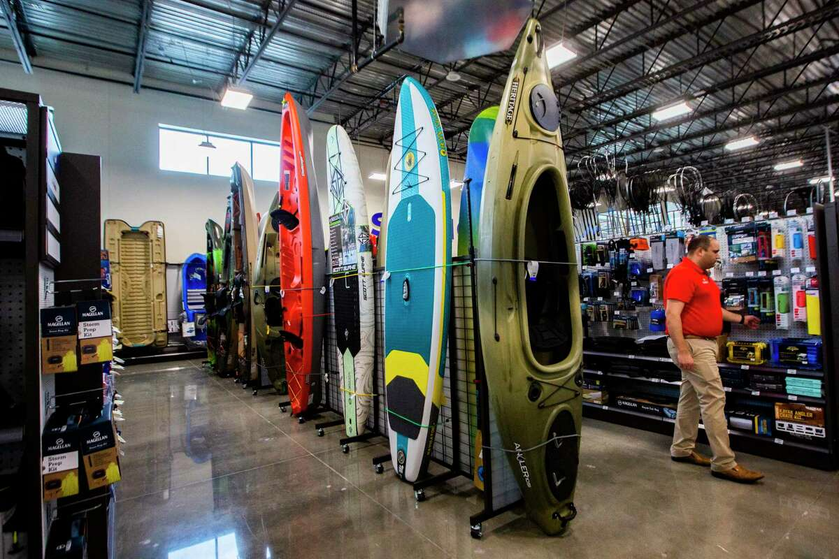 New kayak display at the new Academy store located in Richmond on Friday, Sept. 13, 2019.