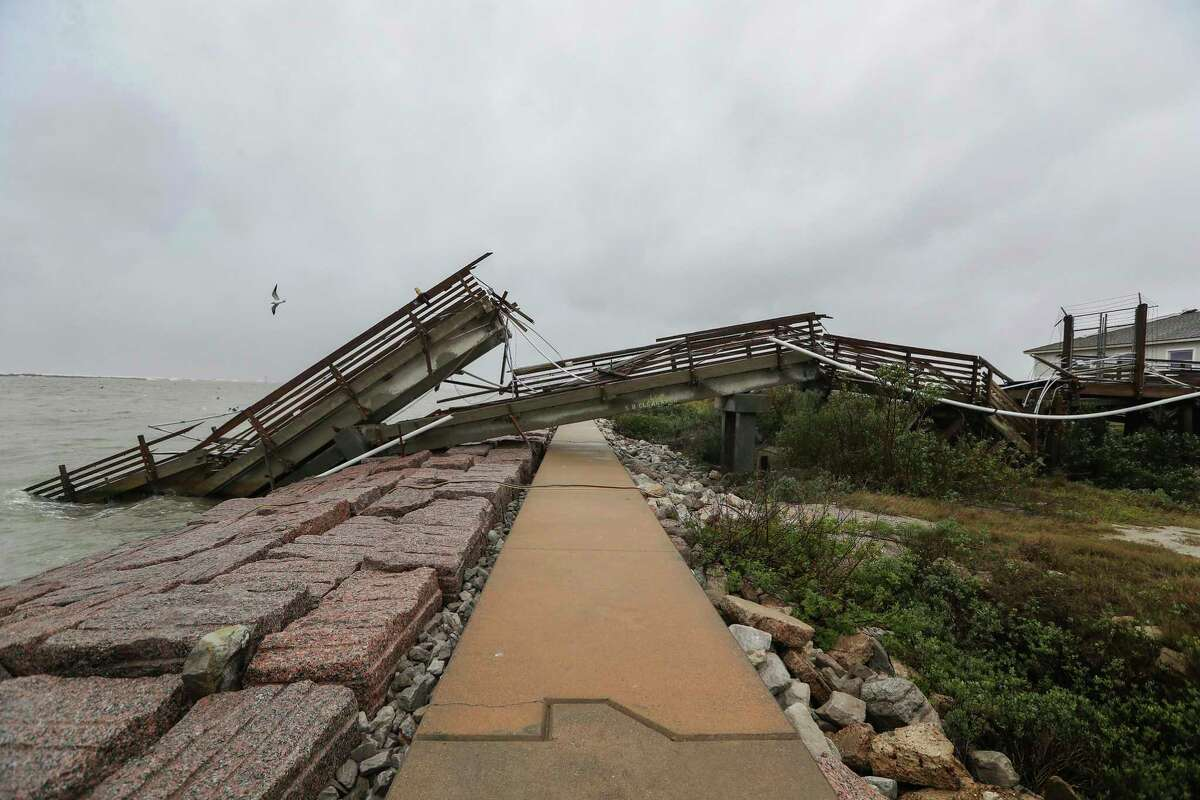 This Thursday, Dec. 7, 2017, photo, shows the University of Texas at Austin's Marine Science Institute research pier destroyed by Hurricane Harvey in Port Aransas