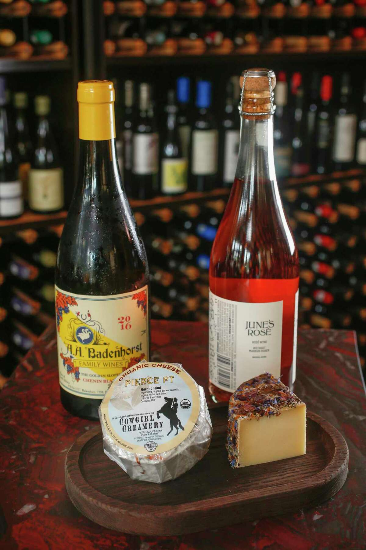 """Rodil's pairings: 2016 A. A. Badenhorst """"Secateurs"""" Chenin Blanc with Cowgirl Creamery's Pierce Point and June's Rosé with Tiny Blossom"""