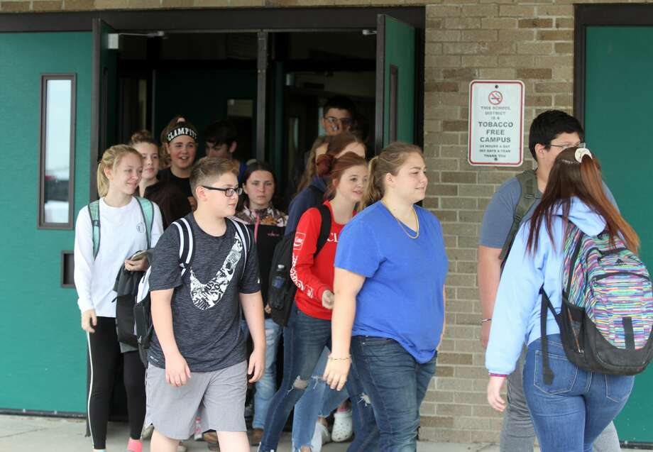 """Laker High students organized a walk-out Tuesday in support of former teacher and coach Justin """"Jay"""" Dubs, who resigned from his position on Friday, Sept. 13 following a sexual misconduct allegation. Photo: Eric Rutter/Huron Daily Tribune"""