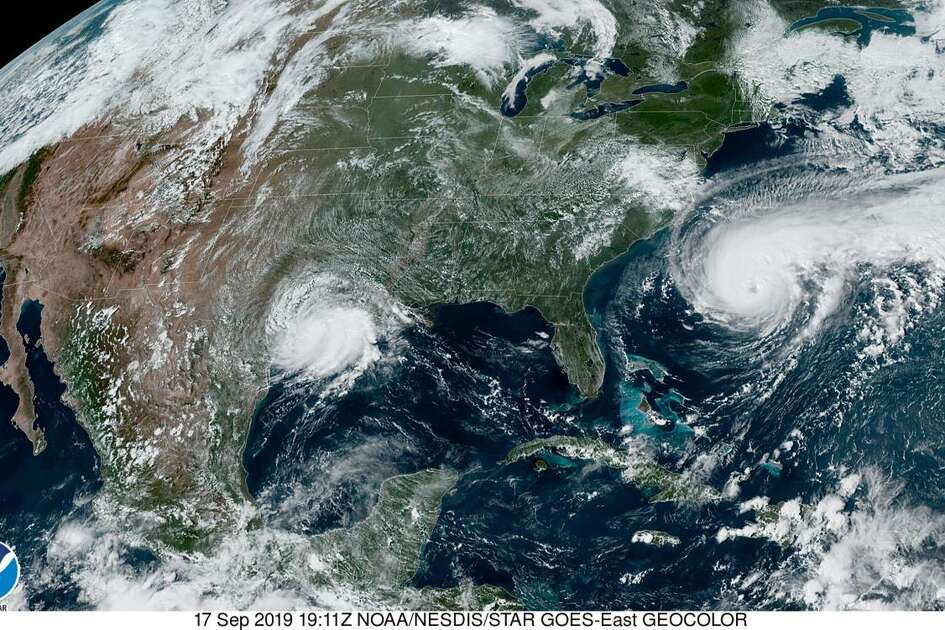 A satellite photo of the U.S. East Coast and the Gulf of Mexico on Sept. 17, 2019. Tropical storms Imelda can be seen along the Texas coast while Humberto hovers on the right side of the image.