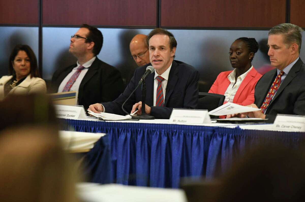 """New York State Health Commissioner Howard Zucker speaks during a meeting of the state Public Health and Health Planning Council to vote on provisions to ban the sale of flavored e-cigarettes on Tuesday, Sept.17, 2019, at the Empire State Plaza Convention Center in Albany, N.Y. Gov. Andrew Cuomo announced Sunday """"an emergency action"""" to ban the sale of flavored electronic cigarettes statewide. (Will Waldron/Times Union)"""