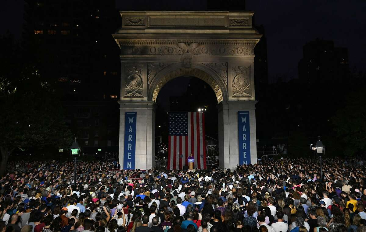 TOPSHOT - Democratic presidential hopeful Massachusetts Senator Elizabeth Warren delivers a speech under the Washington Square Arch in Washington Square Park, New York City on September16, 2019. (Photo by TIMOTHY A. CLARY / AFP)TIMOTHY A. CLARY/AFP/Getty Images