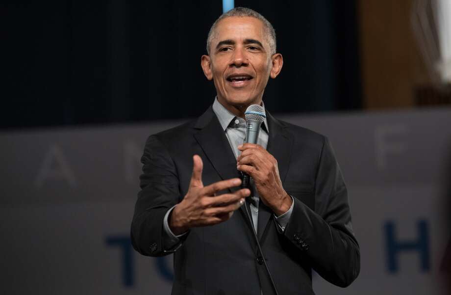 FILE -- Former US President Barack Obama addresses questions from young people at a Town Hall event at the European School of Management and Technology. Obama will be in San Francisco Tuesday for an event at tech company Splunk. Photo: Picture Alliance/picture Alliance Via Getty Image
