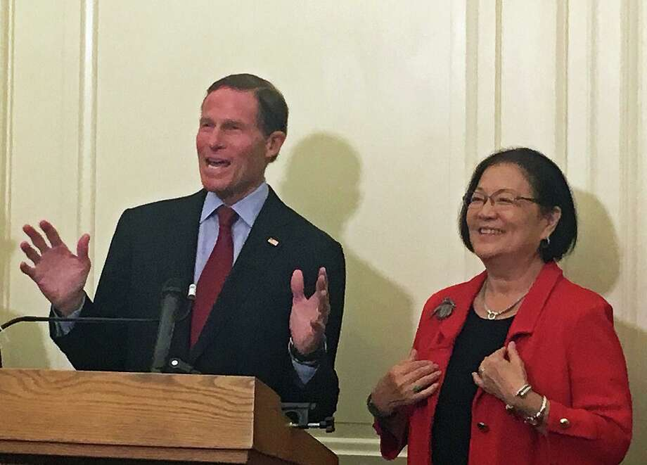 "Democrats U.S. Sen. Richard Blumenthal of Connecticut and Sen. Mazie K. Hirono of Hawaii introduced legislation to block the Trump administrations new ""public charge"" rule for immigrants at the U.S. Capitol in Washington, D.C. on Tuesday Sept. 17, 2019. Photo: Emilie Munson / Hearst Connecticut Media / Connecticut Post"