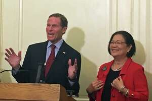 "Democrats U.S. Sen. Richard Blumenthal of Connecticut and Sen. Mazie K. Hirono of Hawaii introduced legislation to block the Trump administrations new ""public charge"" rule for immigrants at the U.S. Capitol in Washington, D.C. on Tuesday Sept. 17, 2019."