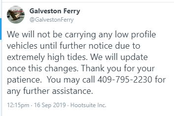 Galveston Ferry: High tide means no low riders