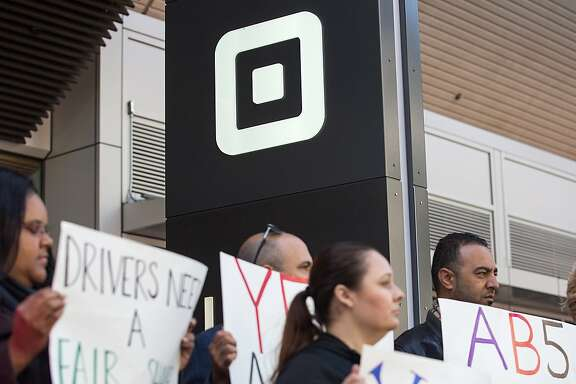 Uber & Lyft drivers and their supporters gather outside of Uber HQ  in support of AB5, the California legislation that would make them employees. Tuesday, June 18, 2019. San Francisco, Calif.