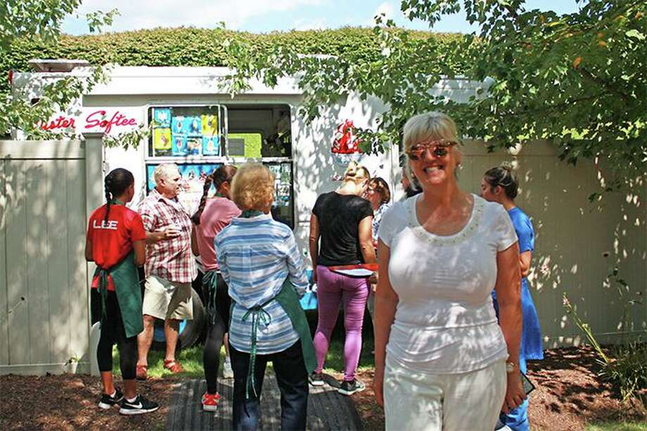 Cathy Kangas had a Mr. Softee Ice Cream truck visit Waveny Care Center recently. Photo: Contributed Photo / Cathy Kangas / New Canaan Advertiser Contributed