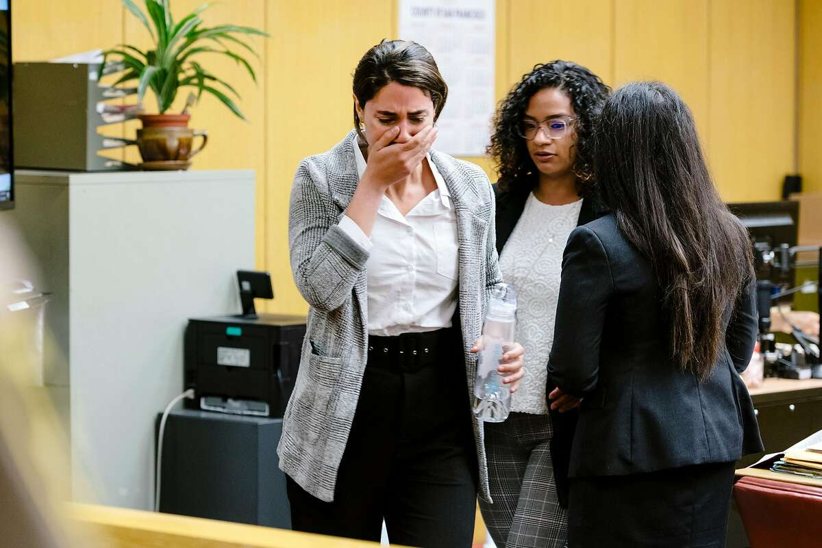 Witness Paneez Kosarian, who is the alleged assault victim of defendant Austin James Vincent, who is accused of assaulting her in front of the Watermark Condo, cries while testifying during a preliminary trial for Mr. Vincent in San Francisco, Calif. on Tuesday, Sept. 17, 2019.
