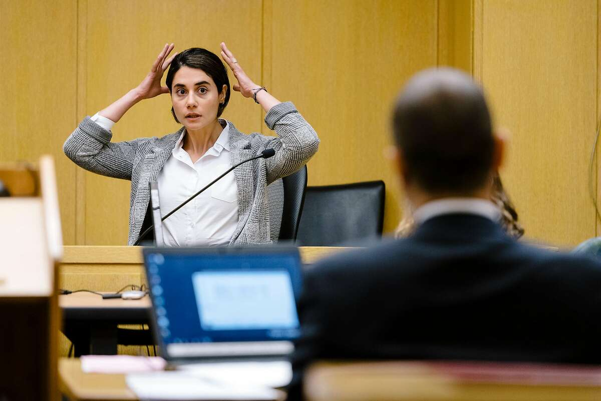 Witness Paneez Kosarian, who is the alleged assault victim of defendant Austin James Vincent, who is accused of assaulting her in front of the Watermark Condo, testifies during a preliminary trial for Mr. Vincent in San Francisco, Calif. on Tuesday, Sept. 17, 2019.