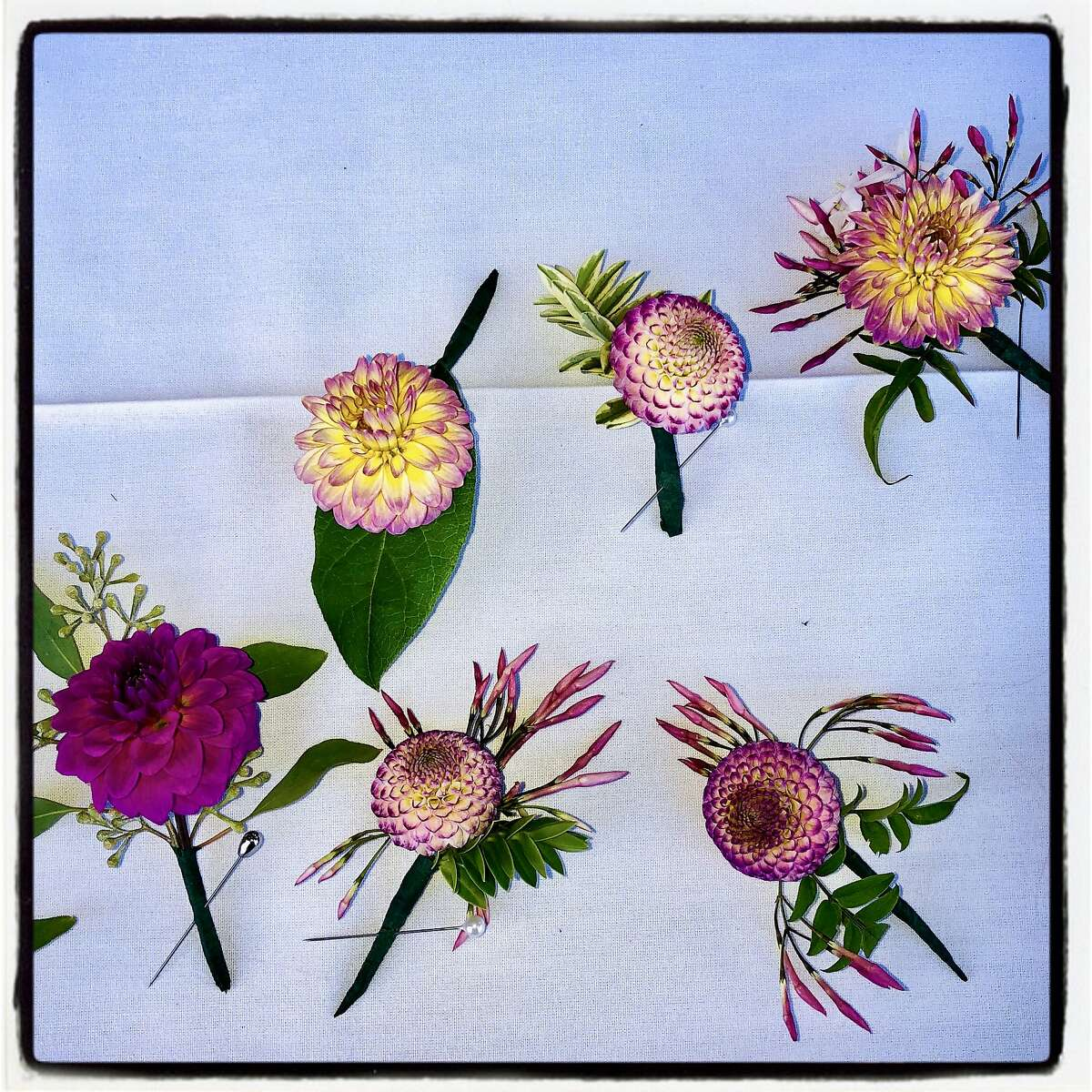 Guest boutonnières from the Golden Gate Park Dahlia Garden at Party for the Parks Sept. 12, 2019.