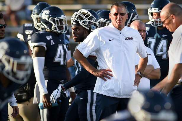 UConn coach Randy Edsall during the first half against Wagner in August.