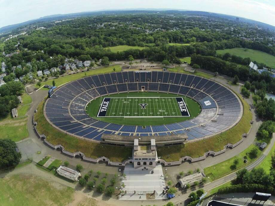 The Yale Bowl, which opened in 1914, no longer has natural grass. FieldTurf has been installed for the 2019 season. Photo: Yale Athletics / Contributed Photo