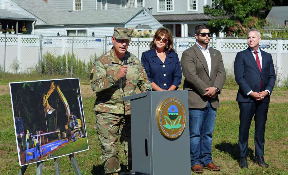 The U.S. Environmental Protection Agency held a press in September in Durham to announce construction had begun on installation of a new water line to provide clean drinking water to the residences and businesses within the Durham Meadows Superfund Site. Photo: Hearst Connecticut Media File Photo