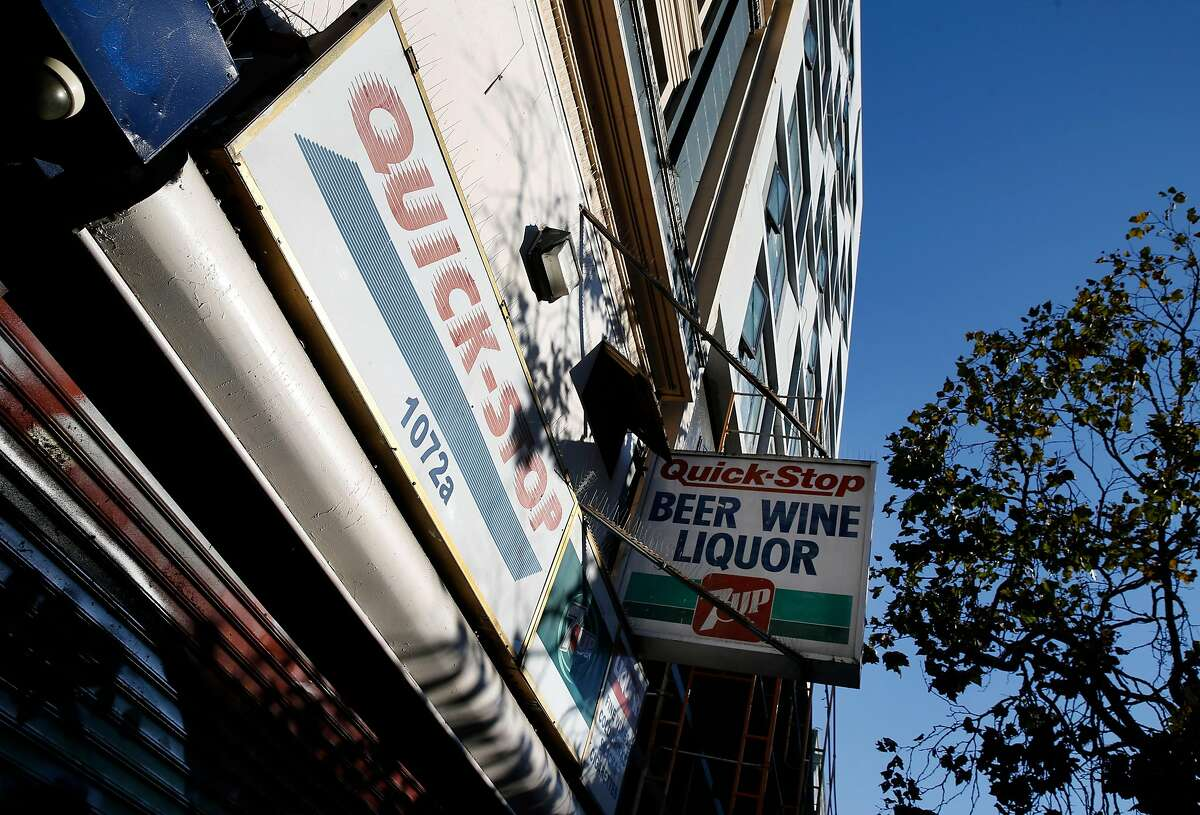 A liquor store on the 1000 block of Market Street is out of business in San Francisco, Calif. on Friday, Sept. 13, 2019. Problems with drug dealing, loitering and other criminal activity have gone away after a smoke shop and liquor store were forced to shut down.