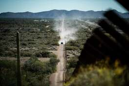 The U.S.-Mexico border barrier in Organ Pipe Cactus National Monument, in Ajo, Ariz.