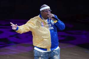 Rapper E-40 performs during Game Six of the 2019 NBA Finals between the Golden State Warriors and the Toronto Raptors at ORACLE Arena on June 13, 2019 in Oakland, California.