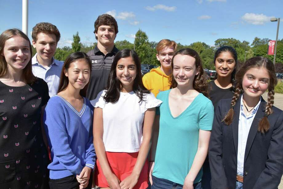 Nine New Canaan High School seniors were named 2020 National Merit Scholarship Semifinalists. From left are Audrey Bloom, Theodore Nelson, Vivian Ding, Christopher Carratu, Tara Chugh, Andrew Jameson, Alexis Axon, Isha Teredesai and Anna Therese Mehra. Contributed photo / New Canaan Public Schools Photo: Contributed Photo / New Canaan Public Schools / New Canaan Advertiser Contributed