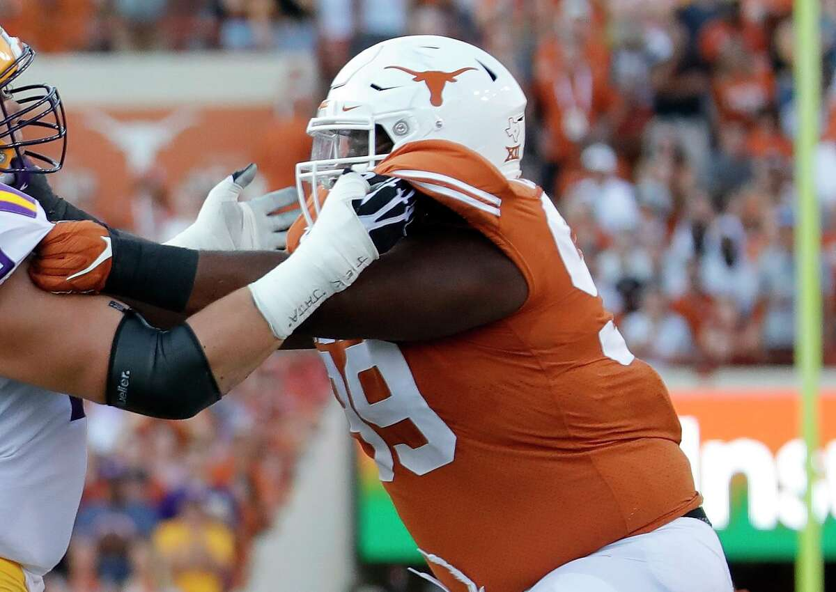 Nose tackle Keondre Coburn was among the UT defenders who helped limit UTEP to 43 rushing yards on 33 carries in the Longhorns' season-opening 59-3 victory.
