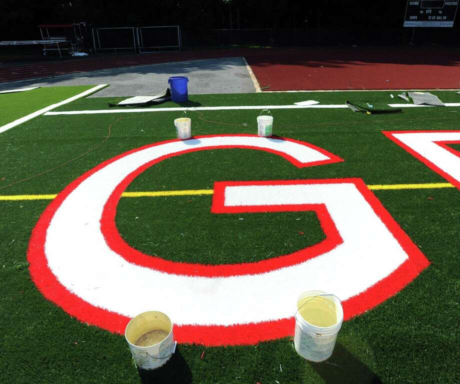 Artificial turf at Greenwich High School's Cardinal Stadium. Photo: Hearst Connecticut Media / Greenwich Time