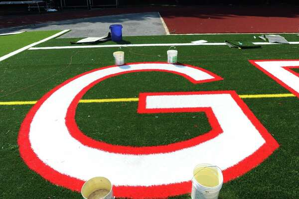 Artificial turf at Greenwich High School's Cardinal Stadium.