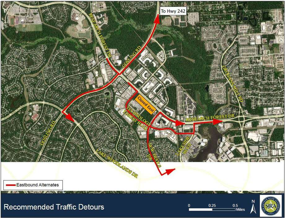Officials with the San Jacinto River Authority and Montgomery County Precinct 3 Commissioner James Noack are both advising drivers in The Woodlands to use these alternate routes to get around the continued closure of the eastbound lanes of Research Forest Drive between Technology Forest Boulevard and New Trails Drive. The lanes will be closed for an undetermined time period as repairs continue. Photo: Map Courtesy San Jacinto River Authority And Montgomery County Precinct 3 Commissioner James Noack / Map Courtesy San Jacinto River Authority And Montgomery County Precinct 3 Commissioner James Noack